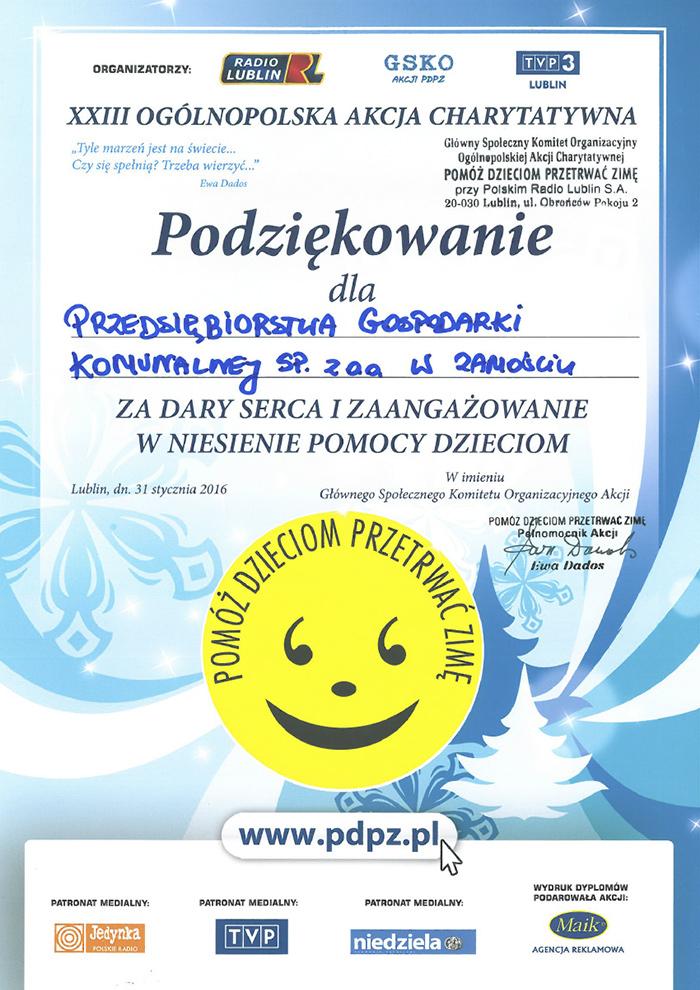 Pomóż Dzieciom Przetrwać Zimę - PGK Zamość