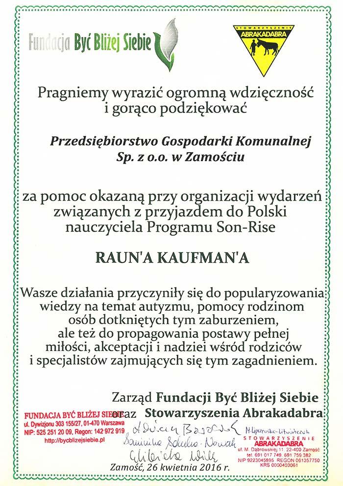 Fundacja Bliżej Siebie - PGK Zamość