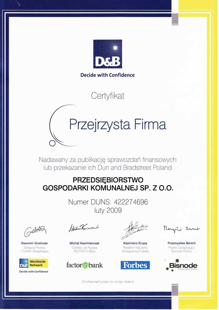 Certyfikat Przejrzysta Firma - PGK Zamość