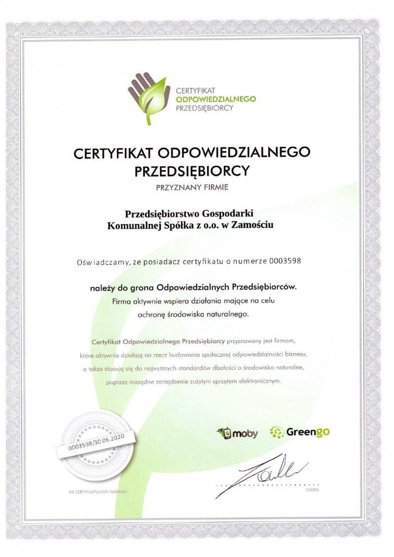 Certyfikat Odpowiedzialnego Przedsiębiorcy